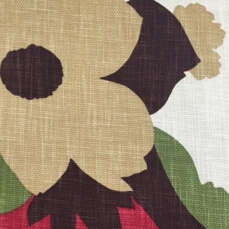 1 3/4 Yards Floral  Basket Weave  Fabric