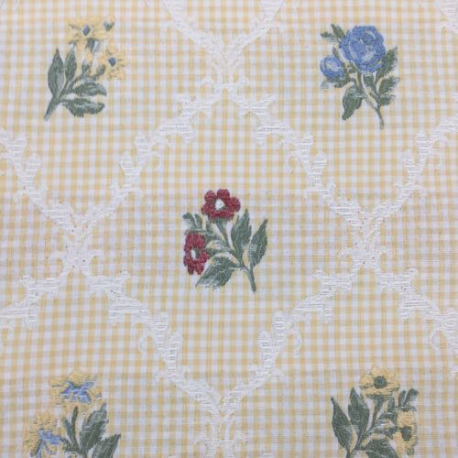 2 1/4 Yards Diamond Floral  Embroidered Woven  Fabric
