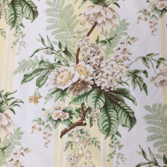5 1/4 Yards Floral Stripe  Print  Fabric