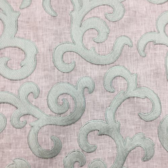 1 1/4 Yards Damask  Embroidered Sheer  Fabric
