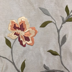 4 1/2 Yards Floral  Embroidered Satin  Fabric