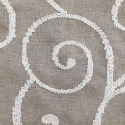 2 3/4 Yards Damask  Embroidered Sheer  Fabric
