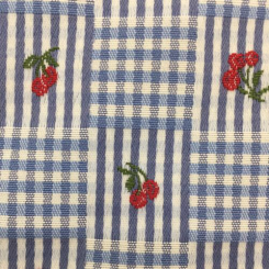 1 1/2 Yards Plaid/Check  Embroidered Woven  Fabric
