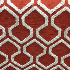Red Embroidered Boucle Fabric (A)