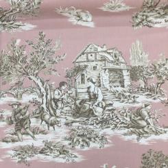 5 3/4 Yards Toile  Print  Fabric