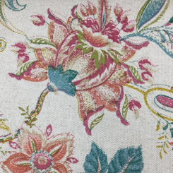 5 1/4 Yards Floral  Basket Weave Print  Fabric