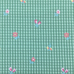 1 1/2 Yards Floral Plaid/Check  Embroidered Woven  Fabric