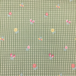 2 1/4 Yards Floral Plaid/Check  Embroidered Woven  Fabric