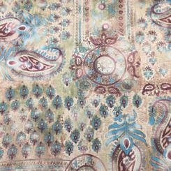 2 Yards Paisley Traditional  Satin  Fabric