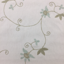1 Yard Floral Traditional  Embroidered Woven  Fabric